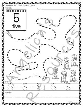 Back to School Activities : Number Sense - Fine Motor Printables -Number Tracing