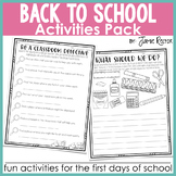 Back to School Activities Pack   Fun Activities for the Fi