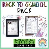 Back to School Activities BUNDLE {Paper + Digital} Grade 1 & 2 Australia