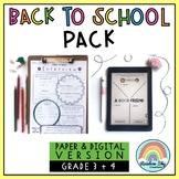 Back to School Activities - { Paper & Digital } Grade 3 & 4 Australia