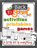 Back to School Activities, Printables, and Games {Editables}
