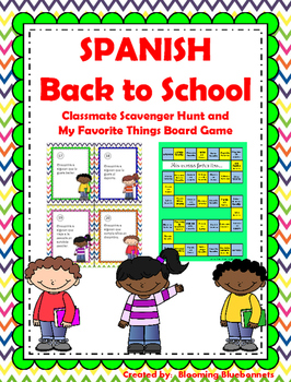 Back to School Activities SPANISH Scavenger Hunt