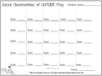 Back to School Activities: Social Observation Charts