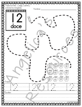 SPANISH Back to School Activities :  Spanish Numbers 0-20 Tracing - Los Números