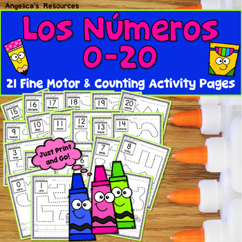 SPANISH Back to School Activities :  Spanish Numbers 0-20 Tracing - Los Numeros