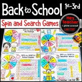 Back to School Activities, Word Search Games 1st, 2nd 3rd Grade