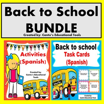 Back to School Activities Spanish/Task Cards BUNDLE