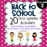 Back to School Activities First Week of School Activities