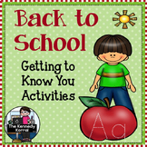 Back to School {Getting to Know You Activities}