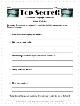 Back to School Activities - Top Secret! Classroom Management Plan