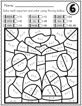 Back to School Activities VOL 2| Multiplication Color by Number Worksheets Facts