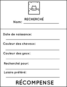 Back to School Activities - Wanted Poster (French) - All About Me