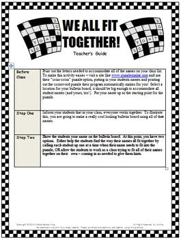 Back to School Activities - We All Fit Together! Bulletin Board and Activity