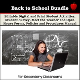 Back to School Activities and Forms Bundle for the Seconda