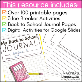 Back to School Activities and Printables for Grades 1-3