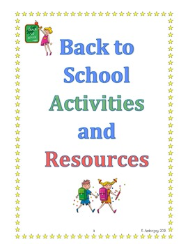 Back to School Activities and Resources