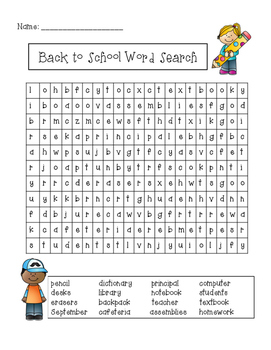 Back to School Activity and Resource Packet