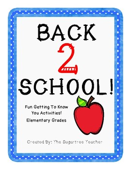 Back to School Activities for Elementary Students