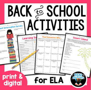 Back to School Activities for ELA First Day of School Ideas
