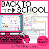 Back to School Activities Print and Digital Distance Learning