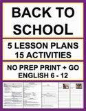 Back to School Activities and Lesson Plans NO PREP BUNDLE