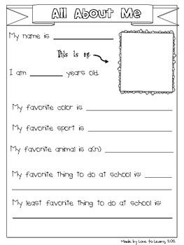 Back to School - Activities for Grades 3-5 (Intermediate)