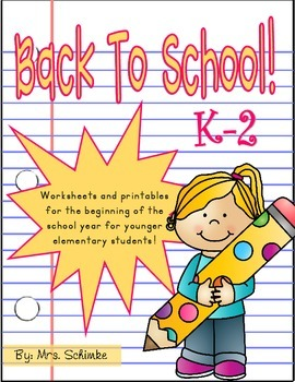 Back to School Activities for K-2 Students