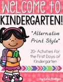 Back to School Activities for Kindergarten - ALTERNATIVE FONT STYLE