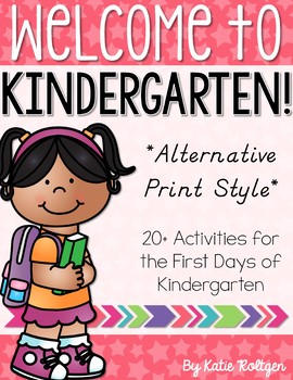 Back to School Activities for Kindergarten - ALTERNATIVE FONT STYLE