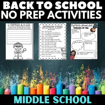 Back to School Get to Know You Activities for Middle School