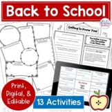 Back to School Lessons and Activities   Print and Digital