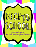 Back to School Activities for Middle and High School