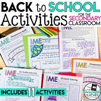 Back to School Beginning of the Year Activities for Secondary Students