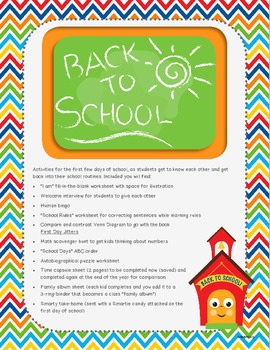 Back to School: Activities for the first week of school