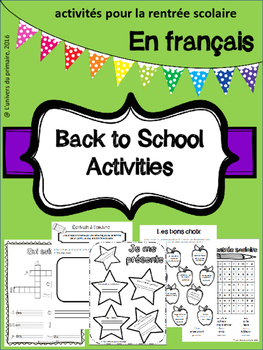 Back to School Activities ( rentrée scolaire) en Français