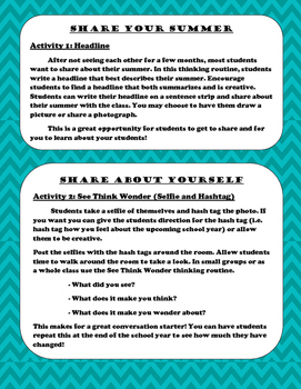 Back to School Activities with Making Thinking Visible