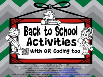 Back to School Activities with QR Coding Too