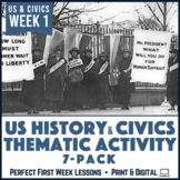 Thematic Back to School Activities for US History Civics Print & Digital