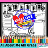 Back to School Activity 6th Grade: All About Me Poster for 6th Graders