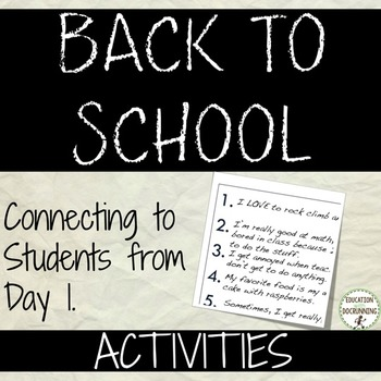 Back to School Activity for middle school