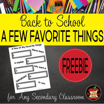 Back to School Activity-A Few Favorite Things