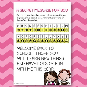 First Day of School Activities (Back to School Secret Message)
