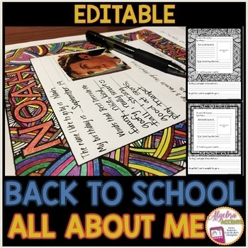 Back to School Activity: All About Me Zentangle *EDITABLE*