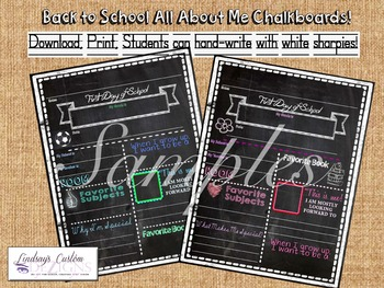 Back to School Activity - All About Me Chalkboard Prints f