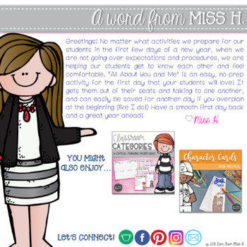 Back to School Activity: All About You and Me