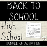 Back to School Activities for Secondary SAVE