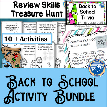 Back to School Activity Bundle including Math Review