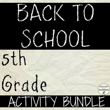 Back to school Activities for 5th Grade Back to School Activity Bundle(SAVE $)