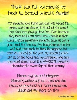 Back to School Activity Bundle - Unicorn Theme