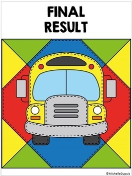 Back to School Activity - Color by number - ADDITION - SUBTRACTION and WORD